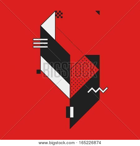 Abstract Geometric Element On Red Background. Useful As Cd Cover, Print Or Poster.