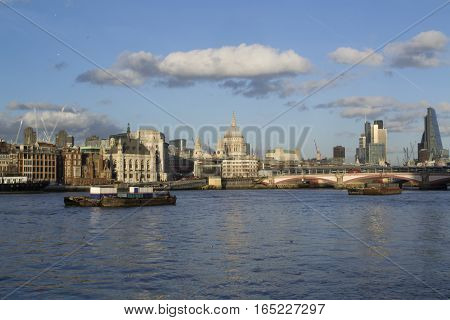 Day Skyline of City of London from South Bank. Waterfront Skyline of London. St. Pauls Cathedral.