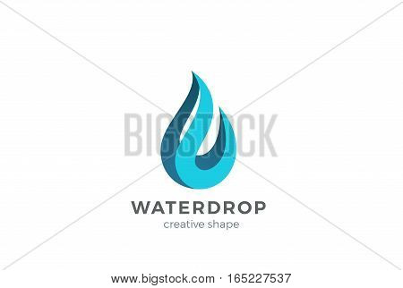 Water drop Logo design vector template. Wave concept. Waterdrop icon. Aqua droplet Logotype idea.