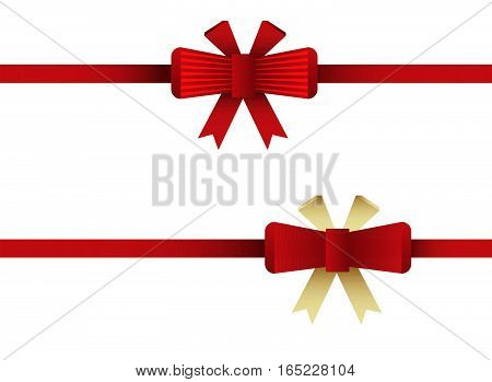 Red Bow Tie. Ribbon Bow Flat Illustration. Vector Stock