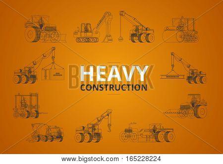 Heavy Construction Machine Line In Orange Background. Vector Machinery Set.