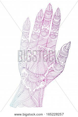 Vector hand drawn tattooed arm with mehendi patterns colored line. Pattern for coloring page A4 size Indian traditional lifestyle.