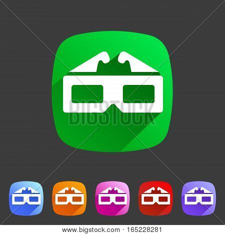 3d glasses anaglyph movie icon flat web sign symbol logo label