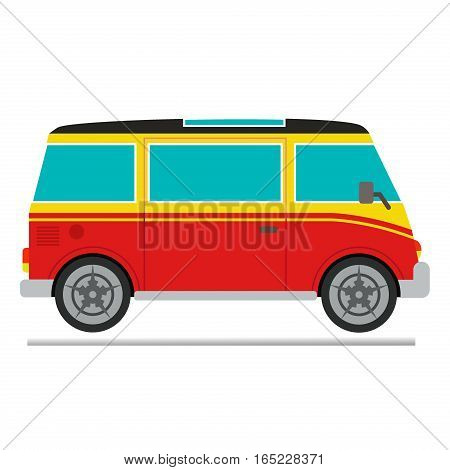 Vector illustration of a retro travel van camping car. Caravan road trailer adventure. Travel vehicle summer vacation transport. Auto tourist mobile lifestyle car travel vehicle.