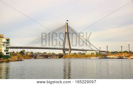 View of the Anzac Bridge in Sydney - Australia