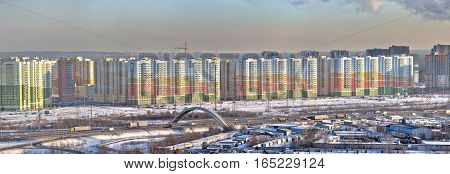 St. Petersburg Russia - January 11 2017: Panoramic photo of a new residential area in the north of the city.