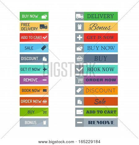 Web elements shop buttons design sign. Buy element and label cart business banner symbol graphic. Navigation menu online chart discount market retail store vector.