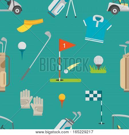 Seamless cartoon golf game pattern bag golf icons