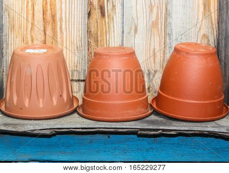 Brown pots for transplanting plants and flowers