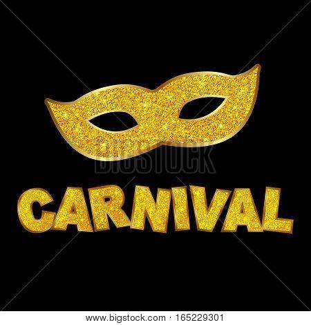 Carnival gold glitter texture mask. Mardi Gras holiday card design template. Vector Illustration.