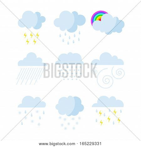 Set of rainy weather icons vector illustration. Season thermometer design thunder temperature sign. Meteorology sky or sun nature element for web application.