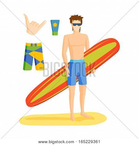 Surfing vector boy standing illustration. Summer water sport people character. Sunny beach hobby vacation lifestyle waves teenager leisure.