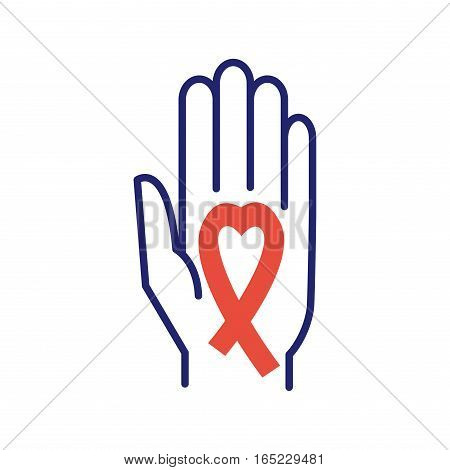 Breast cancer aid ribbon in hand vector on white background. Vector care icon logo medical symbol. Decorative solidarity campaign health disease emblem.