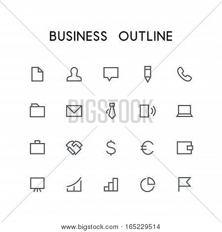 Business outline icon set - document, businessman, chat, pencil, phone, mail, folder, tie, notebook, dollar, euro, wallet, graph and others simple vector symbols. Work and job signs.