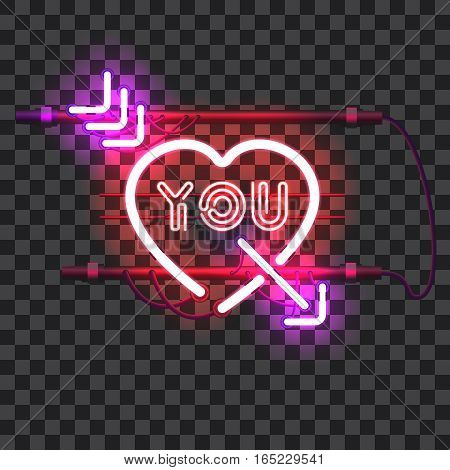 Glowing red neon heart pierced with purple arrow and letters YOU with holders, brackets and wires isolated on transparent background. Glowing neon effect. Valentines heart. Love and wedding symbol.