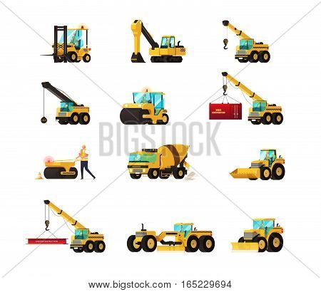 Set Of Construction Equipment. Heavy Machinery Construction. Heavy Machine Vector Set. Vector Illust