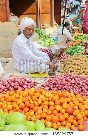 PALITANA, GUJARAT, INDIA - JANUARY 3, 2014: The colorful food market