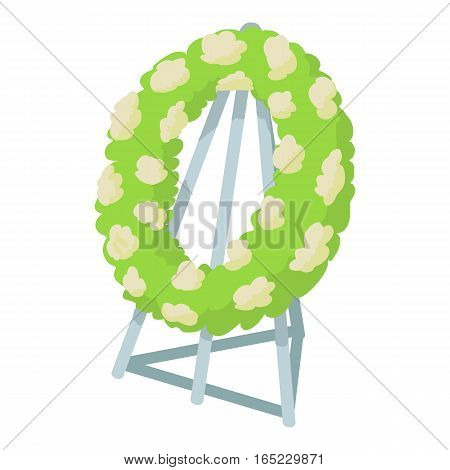 Memorial wreath icon. Cartoon illustration of memorial wreath vector icon for web