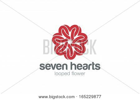 Heart Star Flower Logo design vector template. St. Valentine day of love Party. Cardiology Medical Health care Logotype concept icon.
