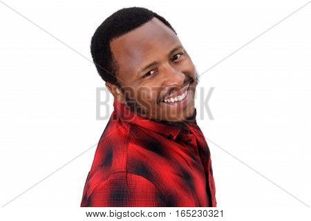 Smiling African American Guy Against Isolated White Background