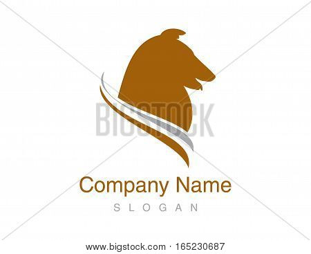 shepherd collie head logo on white backgrounf