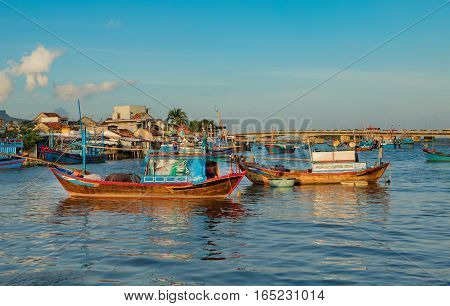 A selection of Vietnamese fishing boat's on the cai river natural harbour in Nha Trang Vietnam.