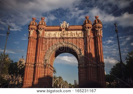 The Arc De Triomf In Barcelona, Spain. Traveling In Europe.