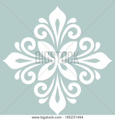 Oriental vector pattern with arabesques and floral elements. Traditional classic ornament with white rhombus. Vintage pattern with arabesques