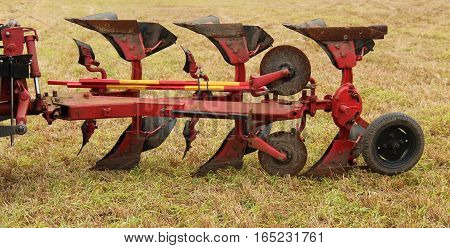 A Vintage Tractor Pulled Agricultural Farming Plough.