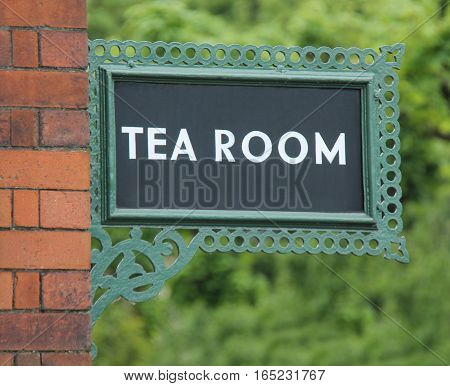 A Vintage Cast Iron Railway Platform Tea Room Sign.