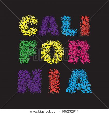 California surf typography, t-shirt graphics, vector illustration