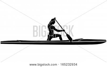 black and white silhouette athlete sports canoe with paddle