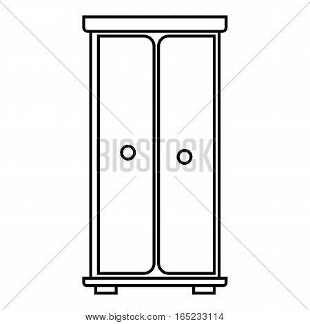 Wardrobe icon. Outline illustration of wardrobe vector icon for web