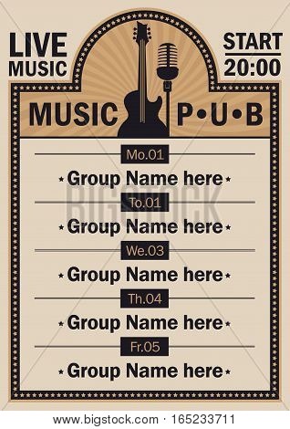 poster for the beer pub with live music with guitar and microphone