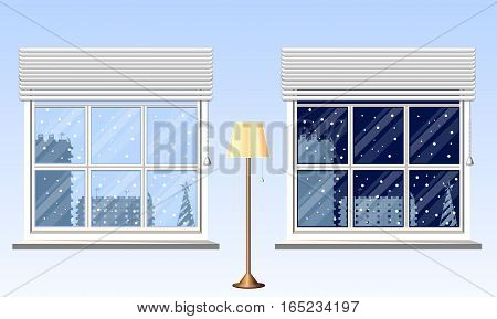 Time of day, evening, night. View outside the window. Interior, design and layout. Template for your design. Floor lamp. Vector illustration