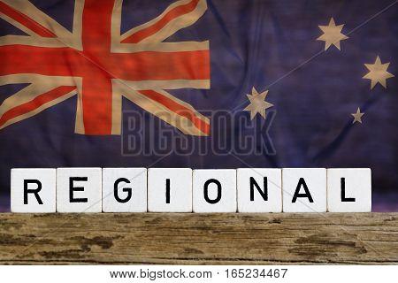 Regional concept Australia flag on wooden background