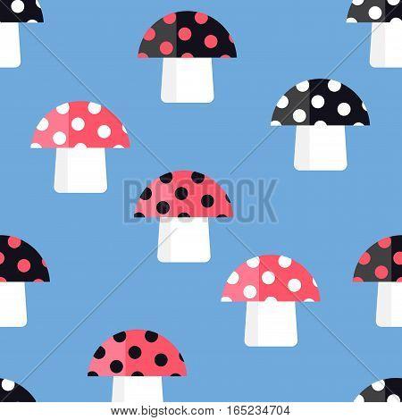 Seamless pattern of the fabulous fungi. Cartoon amanita. Pattern of mushrooms