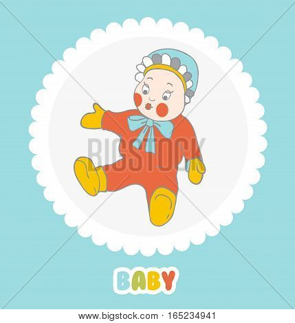 Baby doll in a cap with ruffles on a light background