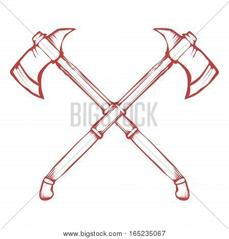 Hand Drawn Crossed Battle Axes isolated on white background vector illustration