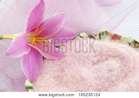Pink Lily Flower With Pink Bath Salt In Decoupage Decorated  Bowl On Pink Background