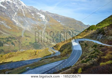 Alpine road in the Alps mountains. Hohe Tauern National park. Grossglockner High Alpine Road, Austria