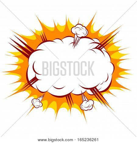 vector illustration of an explosion in the style of cartoon comics, white cloud of smoke in the yellow star