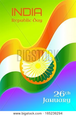 Republic Day in India, 26 January. Vector design element with text, background with Indian national flag