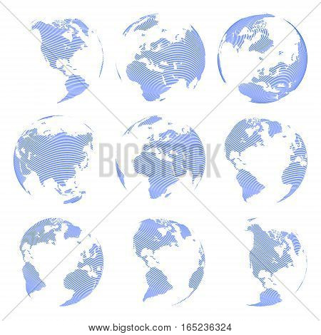 Set of nine Vector abstract globe isolated on white background illustration