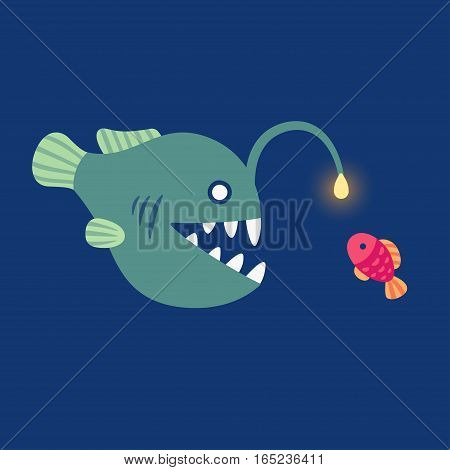 Anglerfish luring small fish with its angler light. Deep sea creature vector illustration.