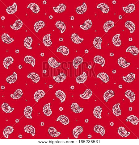 Seamless red bandana pattern. Traditional Paisley texture tileable vector background.