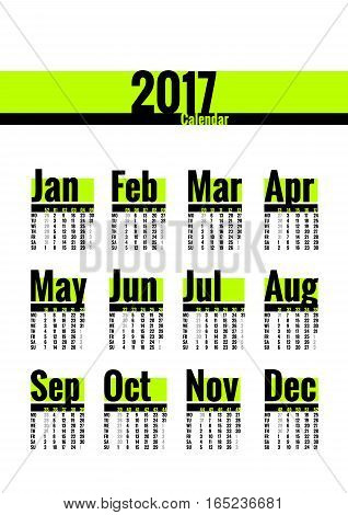Calendar vector template for 2017 year. Week starts on Monday. Calender with week numbers. Year on one page, suitable for poster or pocket calendar