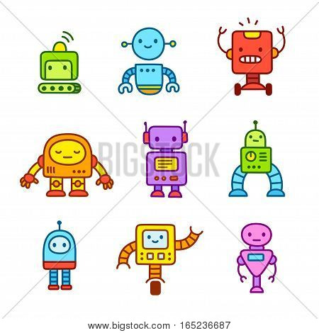 Cute little cartoon robots set. Hand drawn doodle style vector illustration.
