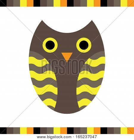 Owl stylized icon warm colors. Vector illustration