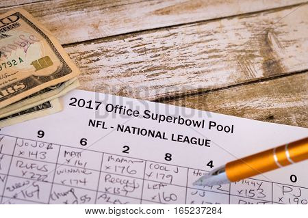 2017 Office Superbowl Pool grid is an American betting tradition